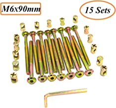 Socell M6 x 90mm Zinc Plated Hex Drive Socket Cap Furniture Barrel Screws Bolt Nuts Assortment Kit for Furniture Cots Beds Crib Hardware Screws Crib and Chairs(Pack of 15 and 1 Hex Key for Free)