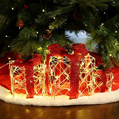 SALCAR 3 Stück Tannenbaum LED Dekoration Lichter Geschenkbox, 20/14/10 cm Leuchtkästen 8-Modus Weihnachtsbaum Dekoration - Warmweiß