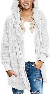 Fasumava Womens Fuzzy Fleece Jacket Solid Open Front Hooded Cardigan Coats Outwear with Pockets Beige L