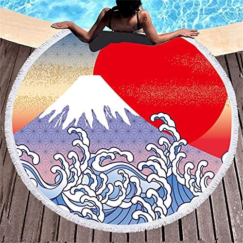 Patrón De Impresión Digital En Color Ocean Wave, Toalla De Playa Redonda De Microfibra, Alfombra De Playa Absorbente De Secado Rápido, Alfombra De Picnic 150 * 150cm