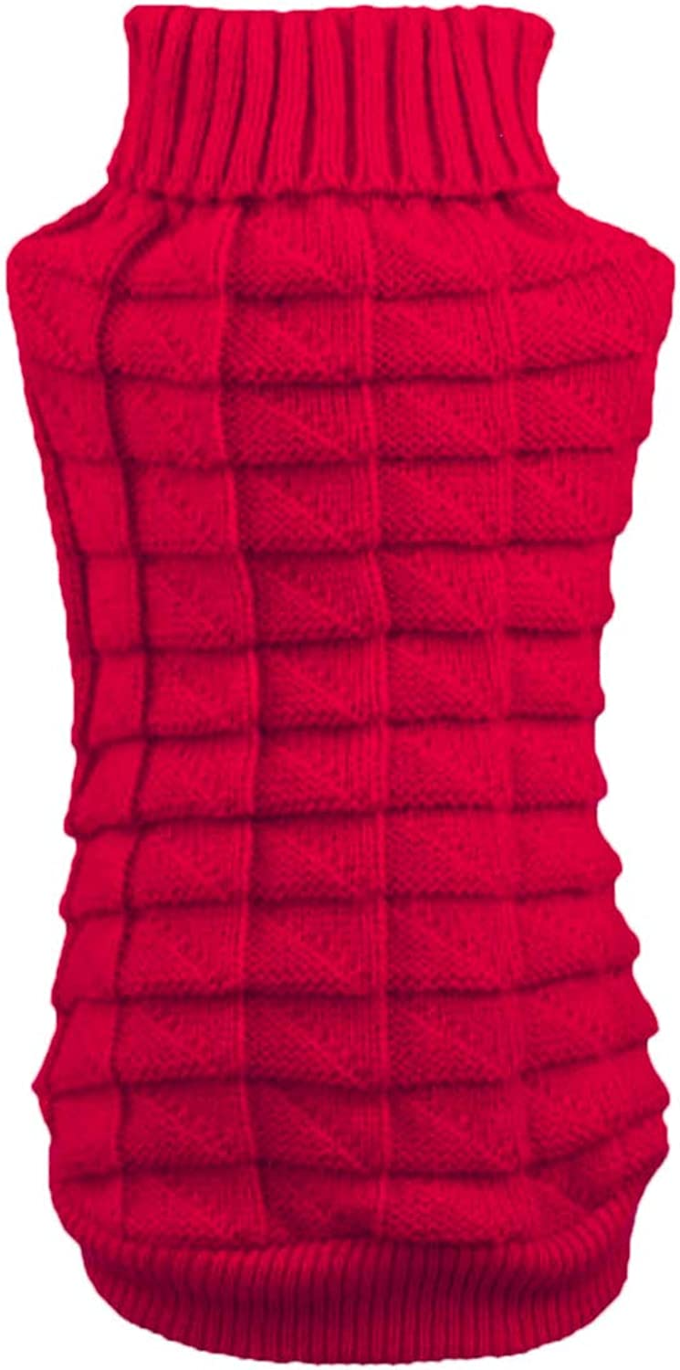 Aiwind Red Cat Dog Sweater Turtleneck Collar Knitwear for Cat Kitten Dog Puppy (A, M)