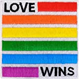 "Love Wins - LGBTQ Artwork Embroidered Iron On Patches, 3"" x 3"" Sew On Patch"