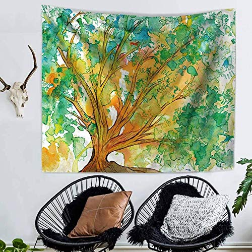 ANAZOZ Tapiz de Tela Poliéster Tapiz Indio Pintura Árbol Verde Amarillo Style 3 Tapiz 150X130CM