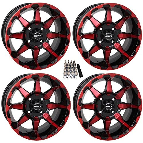 fits 4 wheels up to 22 GoBadges RB01 Red Rim Blade, fits 4 wheels up to 22