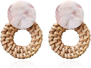 Woven Rattan Resin Earrings for Women Handmade Straw Knit Wicker Raffia Braid Drop Dangle Statement Earrings