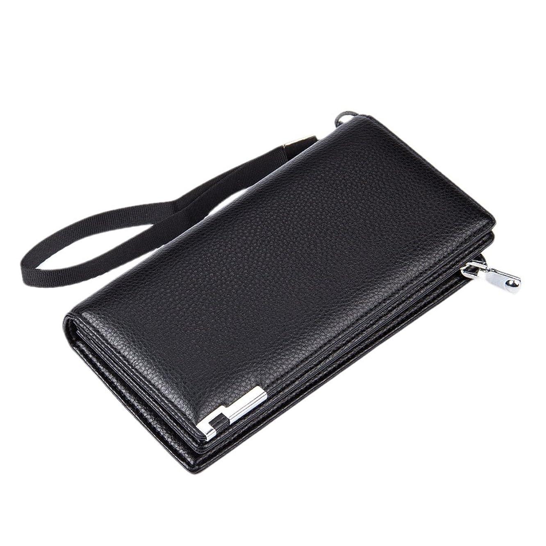 Lichee Pattern Metal Clip Embellishment Vertical Long Portable Clutch Wallet for Men (Black)