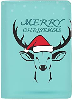 Leather Passport Cover - Passport Holder Case for Men & Women Deer And Santa Hats