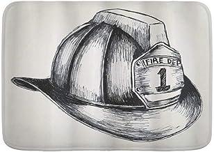 AIKIBELL Alfombra de baño Alfombra Antideslizante,Ilustración de Estilo de Dibujo de Bombero un Bombero El Departamento de Bomberos,Alfombras Modernas de baño Suave 29.5