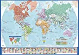 World Wall Map with Flags - English and French - Large - 54' x 37.5' Matte Plastic