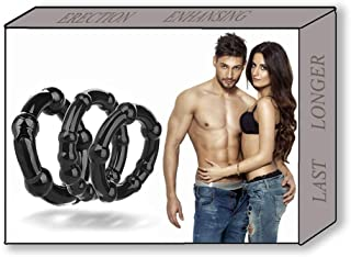 CHMEIJI Silicone Exercise Bands for Men - Different Size Premium Quality Silicone Rings - Super Soft Elastic Exercise Rings-Black
