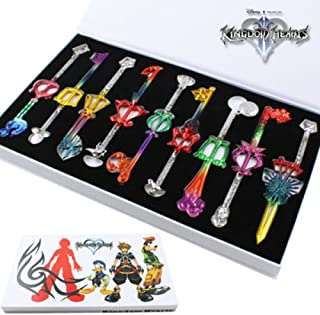 9pcs Cosplay Kingdom Hearts 2 Sora Key Sword Keychain Accessories Necklace Set