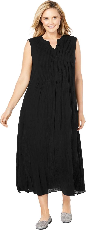 Woman Within Women's Plus Size Sleeveless Pintuck Crinkle Dress