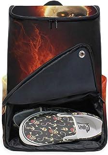 DEZIRO Mochila para ordenador portátil impresionante Calavera ardiente bolsa de viaje para mujeres y hombres universidad mochila de negocios