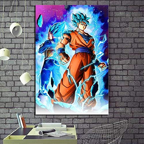ARTZHU Super Saiyan Blue Goku and Vegeta Dragon Ball Super Anime,Wall Art Home Wall Decorations for Bedroom Living Room Oil Paintings Canvas Prints -120 (Unframed,Framed) (12x18inch(Unframed))