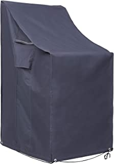 SONGMICS Stacking Patio Chair Cover, 600D Oxford Fabric Waterproof Protective Cover for Outdoor Garden Furniture, Anti-Fad...