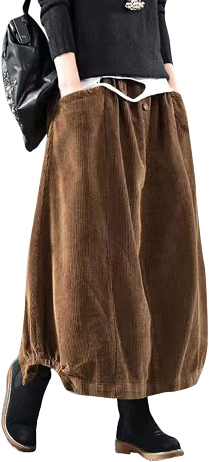 Flygo Women's Vintage Corduroy A-Line Pleated Long Midi Skirt with Pockets