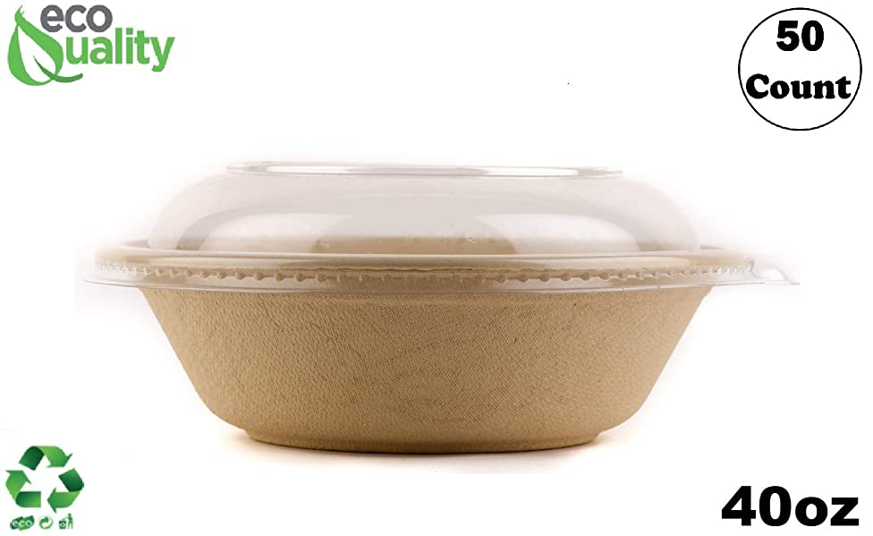 50 Count - EcoQuality 40oz Round Disposable Bowls with Dome Lids Natural Sugarcane Bagasse Bamboo Fibers Sturdy Compostable Eco Friendly Environmental Paper Plastic Bowl Alternative Tree Free