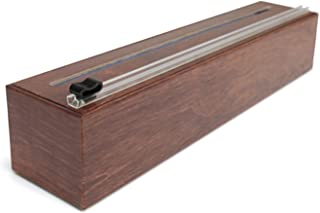 ChicWrap Wood Grain Refillable Plastic Wrap Dispenser/Slide Cutter and 250' of Professional BPA Free Plastic Wrap - Reusable with Slide Cutter Technology