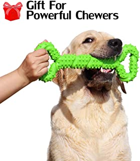 Hipat Dog Chew Toy for Aggressive Chewers, 13 Inch Large Solid Rubber Chew Toy with Soft Massaging Surface for Tooth Cleaning, Interactive Dog Tug Toy