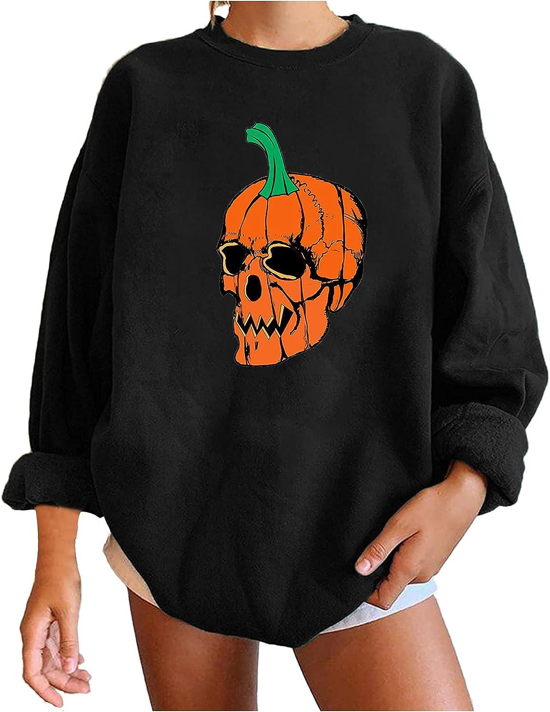 Womens Sweatshirt Loose Easy-to-use Solid Color Halloween Slee Long specialty shop Crewneck