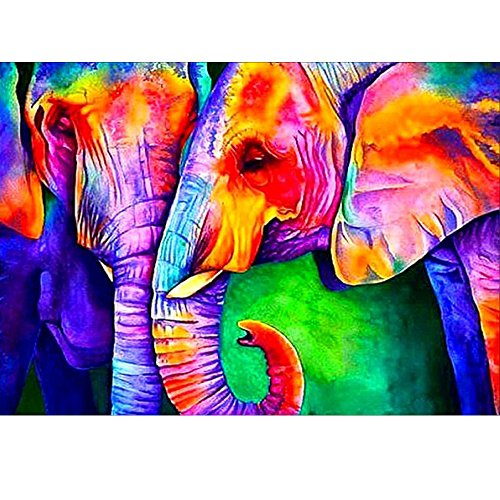 MXJSUA 5D Diamond Painting Full Drill Kits For Adults Rhinestone Pasted Arts Craft for Home Wall Decor 12x16inch Two Colored Elephants