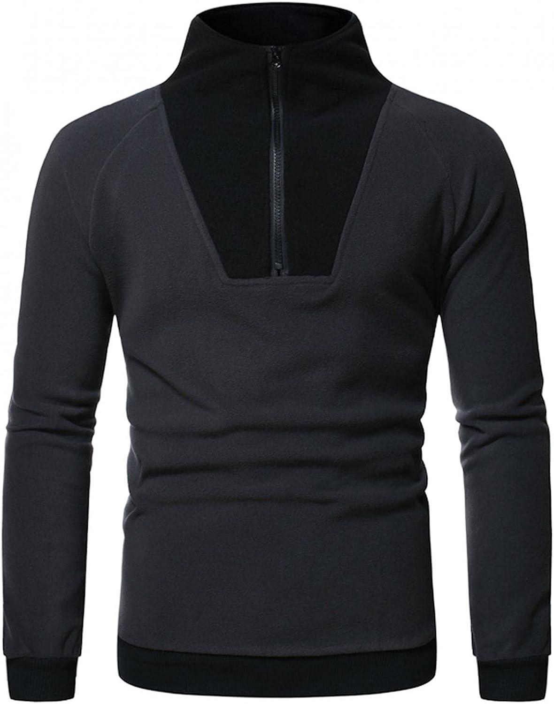 Mens Hoodies Tops Mens Casual Color Block Sweatshirt Stand Collar Pullover Fashion Zipper Fashion Sweatshirt And Hoodies