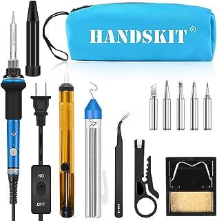 Soldering Iron, Soldering Iron Kit Electronics, 60W Adjustable Temperature Welding Tool, 5pcs Soldering Iron Tip, Soldering Iron Stand, Desoldering Pump, Tweezers, Solder Wire, Carry Bag