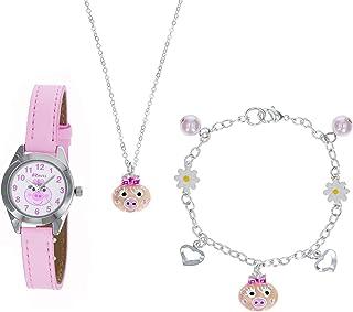 "Ravel Little Gems Kids""Pink Piggy"" Watch & Jewellery Gift Set For Girls R2222"