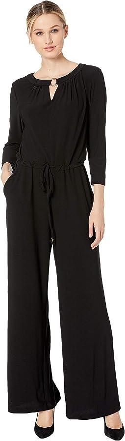 Long Sleeve Front Keyhole Jersey Jumpsuit