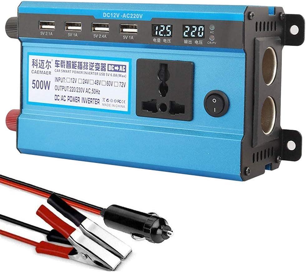 SGSG Inversor de Corriente 500W, inversor de Onda sinusoidal modificada DC 12V / 24V a CA 220V / 230V Convertidor de Corriente con 4 Puertos USB, 2 adaptadores de Cigarrillos, Pantalla LCD, para