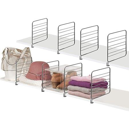 mDesign cloison de séparation pour Armoire à vêtements (Lot de 8) – système de Rangement Pratique en métal pour Le Placard ou la penderie – séparateur étagère sans perçage – Gris Graphite