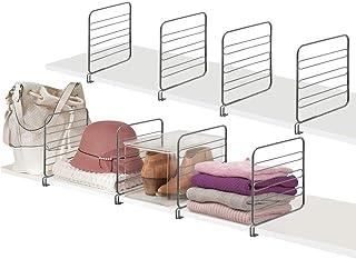 mDesign cloison de séparation pour Armoire à vêtements (Lot de 8) – système de Rangement Pratique en métal pour Le Placard...
