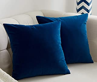 JSBYY Velvet Throw Pillow Covers Solid Color Decorative Square Soft Cushion Cases for Sofa Car 18x18 Inch Set of 2 Blue