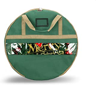 ONWAY Wreath Storage Container Heavy Duty Canvas Wreath Storage Bag for Christmas/Easter/Door/Spring/Winter/Welcome/Valentines Day Wreath with Clear Window and Transparent Card Slot (30 inch Green)