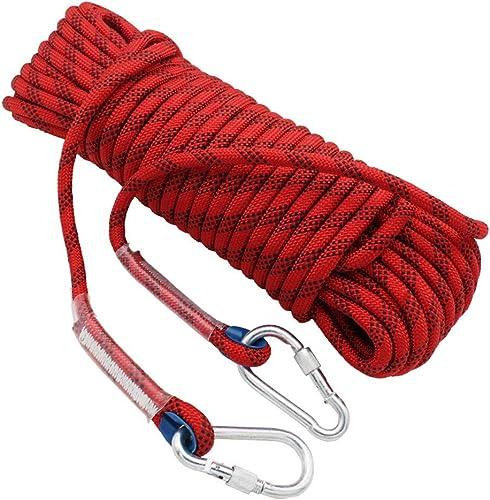 Escalade Corde Corde d'évasion de Survie en Plein air de 10M   15M   20M   30M 14mm, Corde de sécurité à Corde de Haute résistance avec Mousqueton - Rouge