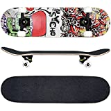 FunTomia - Skateboard con Cuscinetti ABEC-11 - Ruote a Profilo scanalato (100A) - Legno...