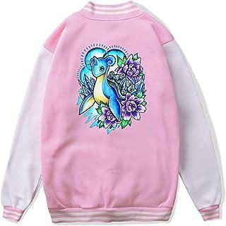 VJJ AIDEAR Lapras Pokemon Baseball Uniform Jacket Sport Coat Girl Long Sleeve Hoodie Sweatshirt Black