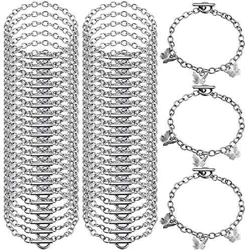 45 Pieces Bracelet Chains with OT Toggle Clasp Stainless Steel Bracelet Link Chains DIY Jewelry Making Bracelets Chains for Women DIY Jewelry Crafts Supplies (Silver)