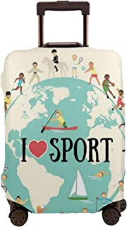 Travel Luggage Cover,I Love Sports Quote On Earth Globe Surrounded By Gymnastic Athlete Children Suitcase Protector