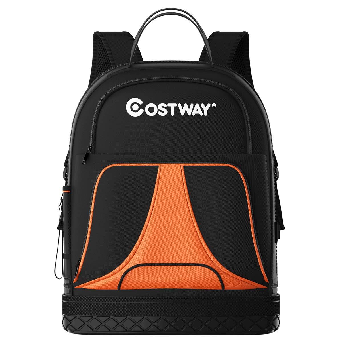 Costway Werkzeug Rucksack 33 Taschen Werkzeugtasche Fur Bauunternehmer Elektriker Klempner Hvac Amazon De Baumarkt