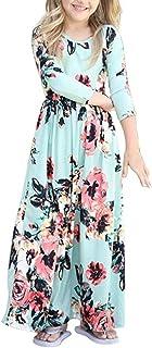 YIJODM Girls Floral Maxi Dress, Flower Printed Short Sleeves Dress with Pockets Summer Long Holiday Dress