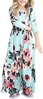 Girl Floral Maxi Dress with Pockets Sleeves Long Holiday Dress