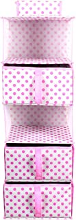 PrettyKrafts 5 Shelf Hanging Organiser, Wardrobe Shelves, Hanging Closet Organizer with 3 Drawers & Side Pockets, Polka Pink