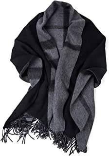 Scarves Scarf Scarves Ladies Cashmere Shawl Autumn and Winter Double Sided Plaid Scarf Thick Warm Soft Black Gray Scarf Scarves (Color : Black, Size : 200 * 70cm)