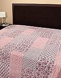 Rajrang Dekoration Handarbeit Tagesdecke Baumwolle Weiß Blätter Doppelzimmer Bettlaken