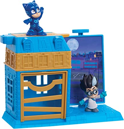 PJ Masks Night Time Micros Trap & Escape Playset – Catboy & Romeo (Flair Leisure Products PJMA7200)