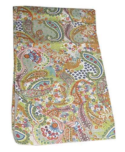 Tribal Asian Textiles fait à la main Paisley Imprimé Kantha, Kantha Parure de lit, coton indien