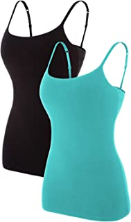V FOR CITY Women's Basic Solid Camisole with Shelf Bra Adjustable Spaghetti Strap Tank Top Pack of 2