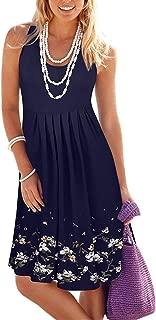Summer Casual Loose Print Pleated Sleeveless Vest Dresses