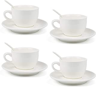 Kingrol 8 Ounce Porcelain Cappuccino Cups with Saucers and Spoons, Set of 4 Espresso Mugs for Latte, Mocha, Cappuccino and Tea